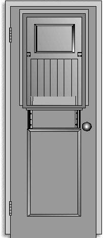 Standard Square Corner Door with Shutter, Grille, and Shelf